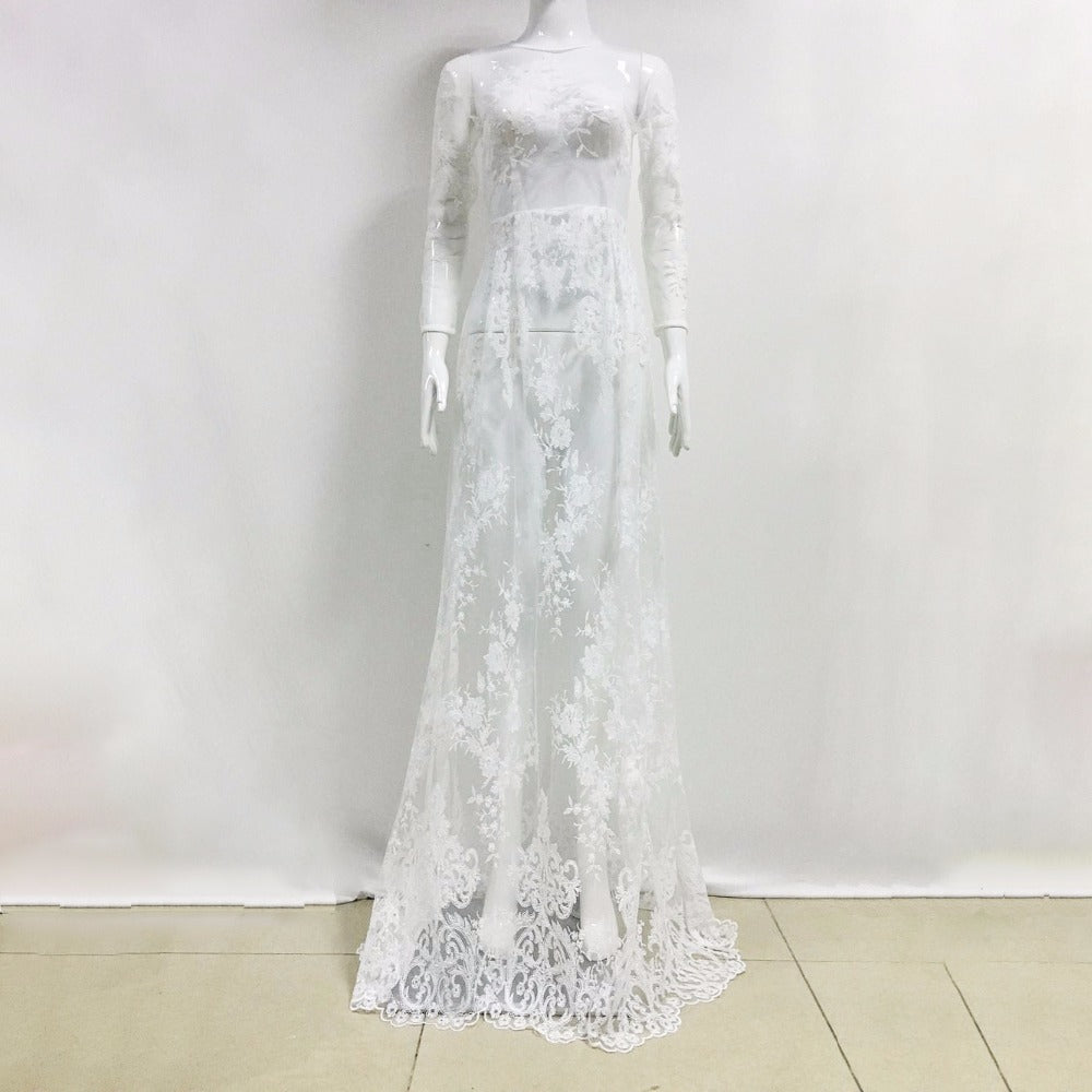 New 2017 Runway Designer See Through Dress For Party Women's Long Sleeve Tunic Sexy Floor Length White Lace Dress Gown Club Wear