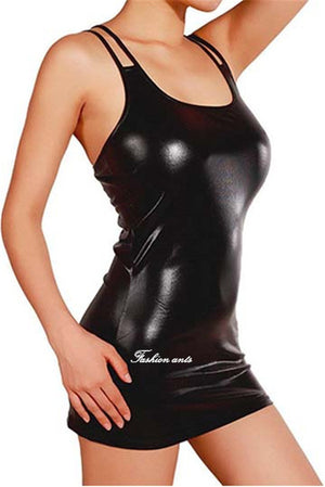 New 8 color sexy lingerie hot women Imitation leather skirt teddy Club sexy costume erotic lingerie sexy slim lingerie dress
