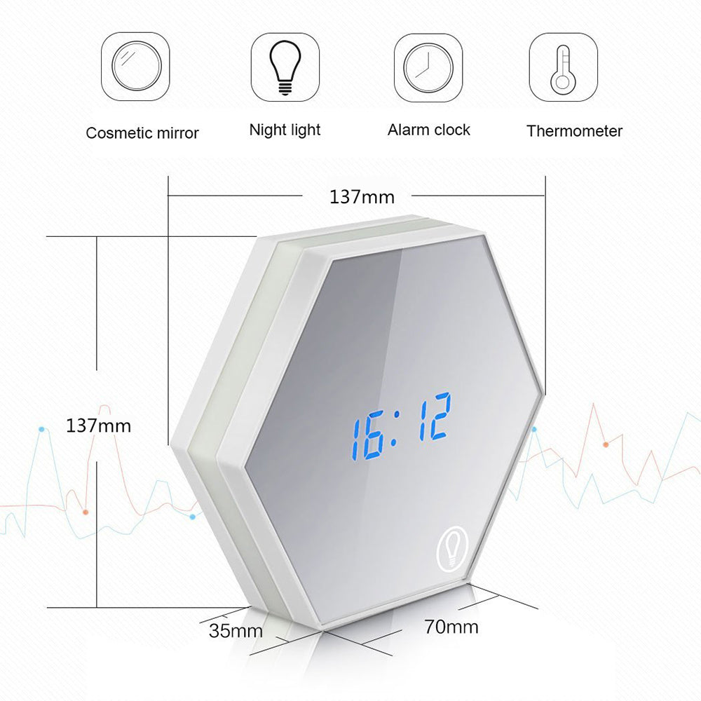 New Electronic Multifunction LED Night Light Wall Clock Mirror Digital Display Alarm Clock Snooze Light-emitting Thermometer