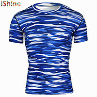 New Lighting Print Bodybuilding T Shirt Men Army Tactical Combat T-Shirt Military Camo Camp T Shirts Fitness Compression Shirt