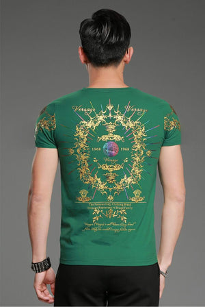 New Men's Slim Fit T-Shirt V Neck Short Sleeve Medusa Head Gold Print Tops Shirt M - 4XL