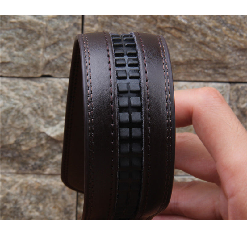No Buckle 3.5cm Wide Real Genuine Leather Belt Without Automatic Buckle Strap Designer Belts Men High Quality cinturon hombre