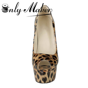Onlymaker Brand Extremely High Heel Sandals Shoes Women's Leopard Sexy Pumps Spike Shoes Peep Toe Party Shoes Plus Size 15