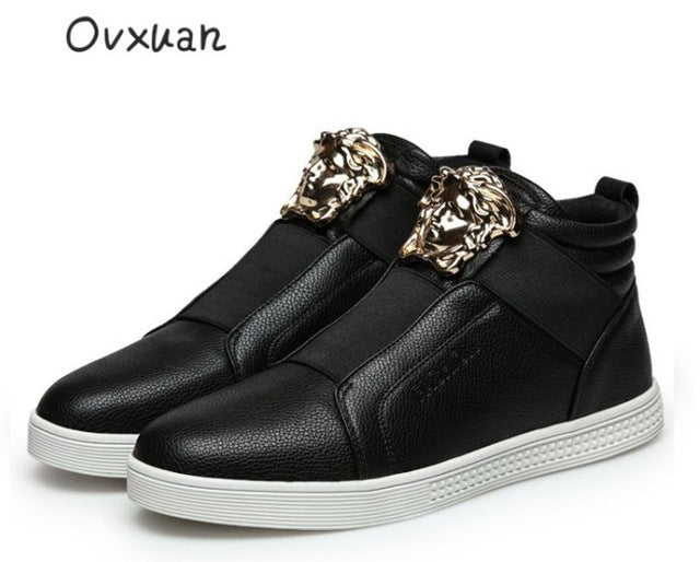 Ovxuan 2018 Flat Shoes Metal Medusa Head Slip On Men Loafers Moccasins Fashion Party Casual Dress Sneakers Italian Shoes For Men