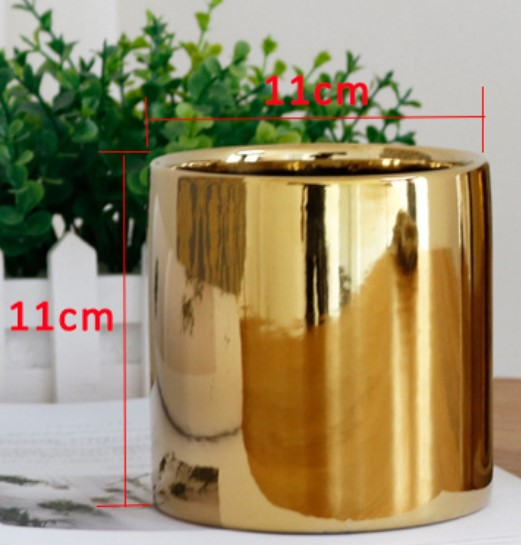 Plating Gold/silver ceramic vase livingroom garden planting flowers pot Aristocratic room decoration accessories home decoration