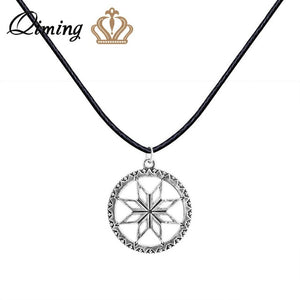 QIMING Valkyrie Silver Slavic Pendant Women Necklace viking Odin Thor Runes Warrior Charm Black Leather Chain Necklace Collier