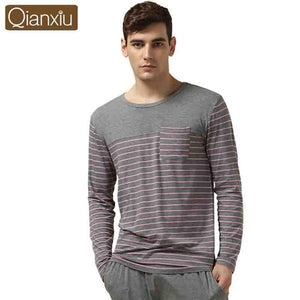 Qianxiu Modal Sleepwear Suit for men Classic Stripe Lounge Wear Long-sleeve Lovers Pajamas Sets