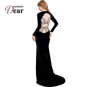 RA70214 Comeondear Black Velvet Dress Elegant Prom Long Sleeve Dress Floor Length Party Lace Back See Through Maxi Dress