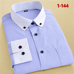 Recommend 2017 good Patchwork black button turn down collar long sleeve twill business formal mens dress shirts solid men 's top