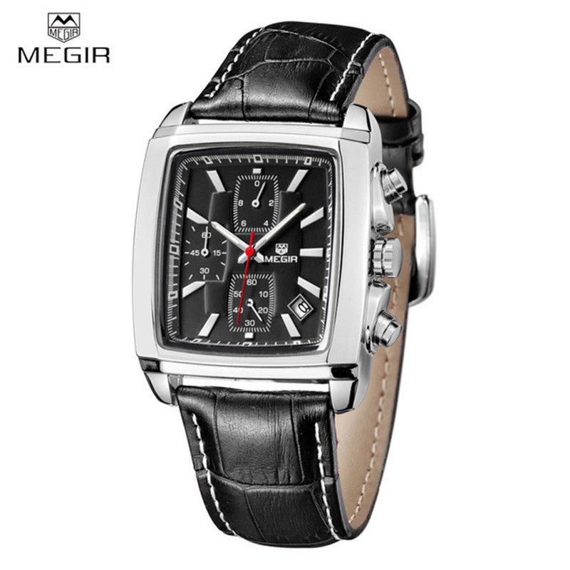 Relogio Masculino Mens Watches Top Brand Luxury MEGIR Men Military Sport Luminous Wristwatch Chronograph Leather Quartz Watch