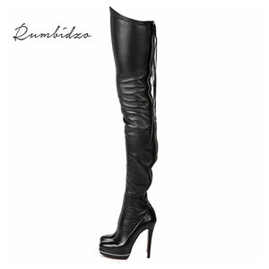 Rumbidzo 2017 Women Boots Stretch Over the Knee High Sexy Ladies Party High Heels Platform Shoes Woman Dress Plus Size 43