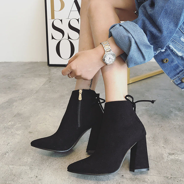 Rumbidzo Women Boots 2018 New Pointed Toe Ankle Boots Lace Up Thick Heel Zip Short Plush Bootie Woman Shoes Botas Sapatos