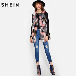 SHEIN Hidden Pocket Colorful Faux Fur Vest Ladies Multicolor Collarless Sleeveless Women Coat Autumn Elegant Vests
