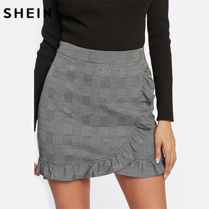 SHEIN Skirts for Women Frill Trim Plaid Wrap Skirt Grey Mid Waist Asymmetrical Sheath Skirt Ruffle Hem Casual Skirt