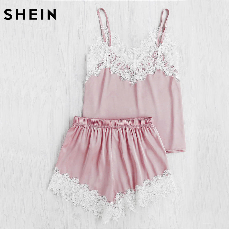 498ec67fc SHEIN Women Sleeping Wear Summer Sexy Pajama Sets Lace Trim Satin Spaghetti  Strap Cami Top and