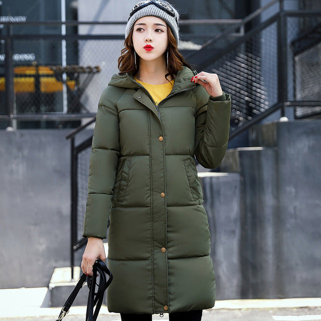 SNOW PINNACLE Winter Jacket Women Mid-Long Warm Hooded Fur Pocket Cotton Padded Parkas Sweat Girls Cold Outwear Jacket  M-3XL