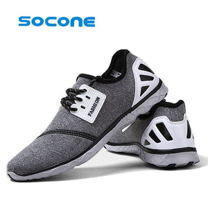 SOCONE Men walking shoes lace up outdoor dmx synthetic breathable vamp light tennis shoes women shoes