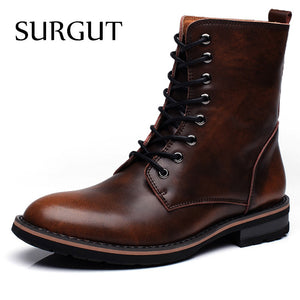 SURGUT Men Motorcycle Boots Vintage Combat Boot Winter Fur 2018 New Cow Split Leather Waterproof Buckle Military Boots Men Shoes