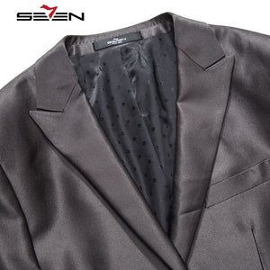 Seven7 Brand Black Mens Suits Wedding Groom Blazers Italian Vintage Business Suits Men Slim Fit Plus Size (Jacket+Pant) 705C1241