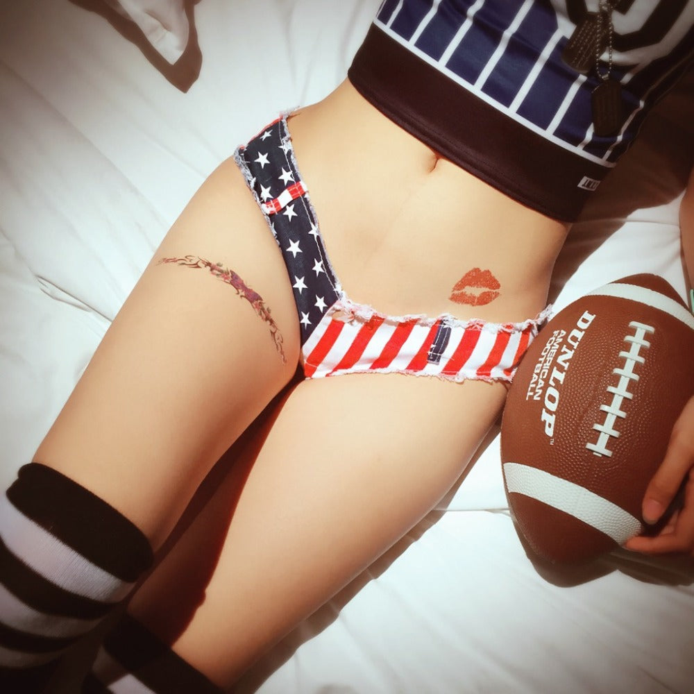 Sexy Striped Flag Hot Short Tassel High Cut Denim Booty Shorts Super Low Rise Waist Micro Mini Short Vintage Cute Bikini Erotic