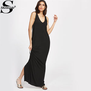 Sheinside Beach Maxi Dress Women Black Deep V Neck Draped Slit Back Sexy Summer Dresses 2017 New Elegant Casual Cotton Dress
