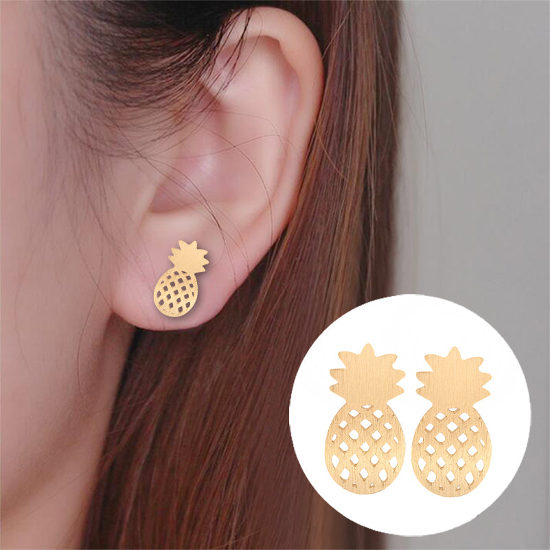 Shuangshuo 2017 Elegant Cute Fruit Stud Earrings Brushed Pineapple Stud Earrings Dainty Minimalist Post Earrings Gift Jewelry