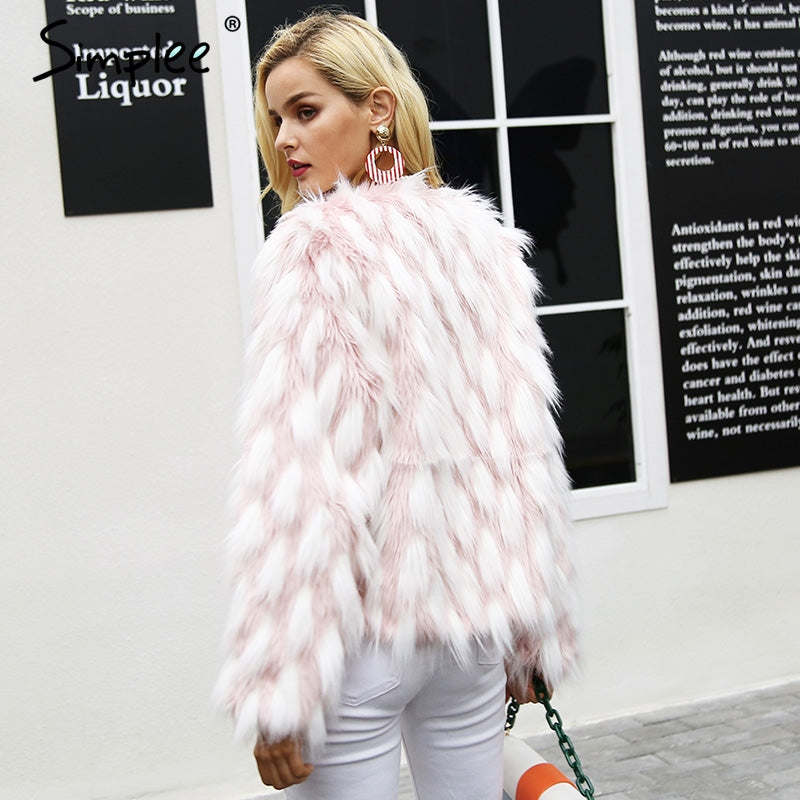 Simplee Fluffy warm faux fur coat women Fake fur short winter coat female 2017 autumn chic pink party casual furry overcoat
