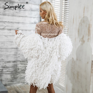 Simplee Warm knitting shaggy white cardigan Women sweater soft black female jacket coat  Autumn winter hairy faux fur coat