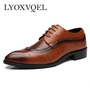Size 47 48 Fashion PU Leather Men Dress Shoes Pointed Toe Bullock Oxfords Shoes For Men, Lace Up Designer Luxury Men Shoes M067