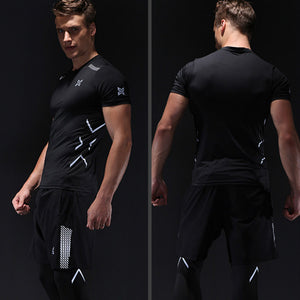 Sport Quick drying compression shirt sport tights men gym workout clothes short sleeve Summer and fall training shorts