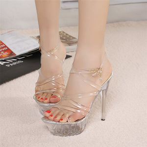 Summer Platform sexy clear pvc strappy sandals Shoe for stripper pole dance Women Large Size High heel Big Pump Lady female Plus