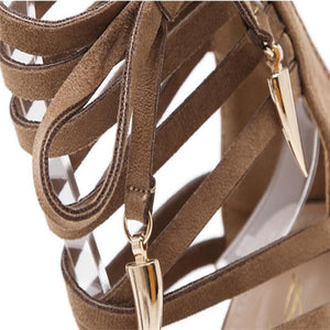 Summer Sandals Women High Heels Fashion Runway Catwalk Metal Decoration Strappy Stiletto Pumps Roman Sandals Lace Up Ankle Boots