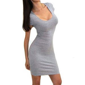 Summer Skinny Sexy Dress Short Sleeve Pencil Slim Stretch Tight Mini Bodycon Dresses Women Clothing Cheap Clothes China