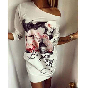 Summer Woman Flower Print Sporting Dress T-shirt Dress Fashion High-quality O-Neck Three Quarter Sleeve Casual Dresses vestidos