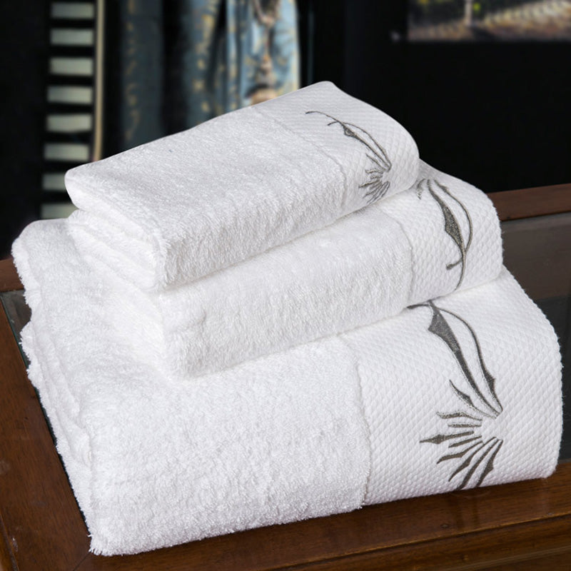 SunnyRain 3/5-Pieces White Embroidery Cotton Towel Sets Thick Large Size Bath Towel High Water-absorbent Towel
