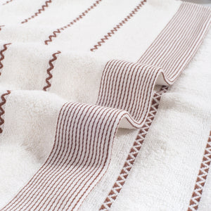 SunnyRain 3-Piece Striated Cotton Towel Adults Face Towel Hand Towel High Absorbent  34 x 74cm 400GSM