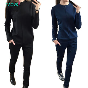 TAOVK new fashion Russia style Women's Autumn Tracksuit Women Hoodies 2-Piece Set t-shirts+Long Pants) Leisure Suits
