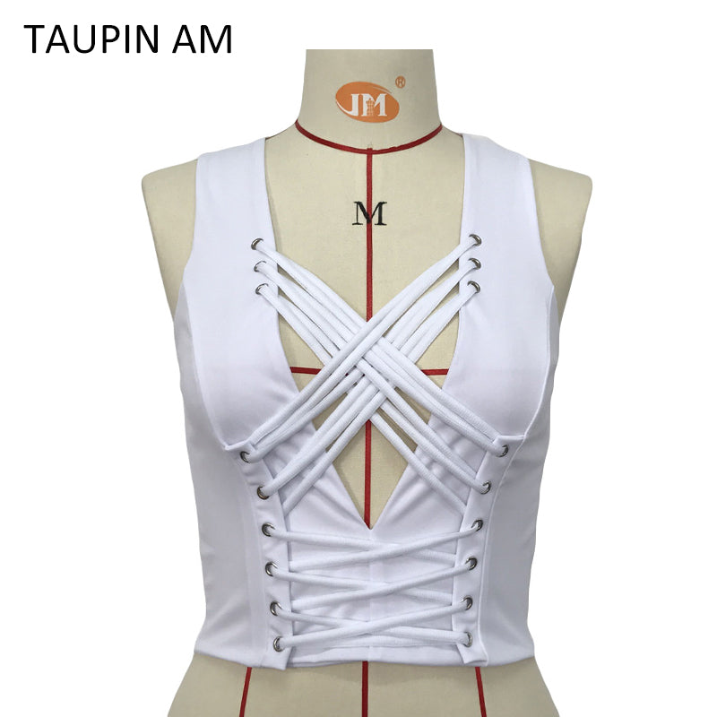 TAUPIN AM Sexy Lace Up V-Neck Bustier Crop Tops Women 2017 Summer Workout Tank Top Mujeres Party Ladies Black Tops White Cami