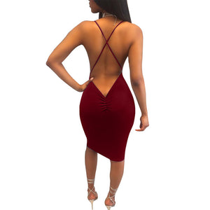 TOB new 6 colors S-XL midi dress 2017 summer womens back hollow out sexy double lined party night club vestidos de feta XD958