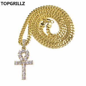 TOPGRILLZ Egyptian Ankh Cross Necklace for Women Men Jewelry Prayer Necklaces & Pendants with Cuban & Link Chain