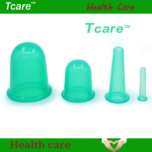 *Tcare 4Pcs/Set Body Beauty Silicone Vacuum Cupping Cups Neck Face Back Massage Cupping Cups Relax Full Body Massage Health Care