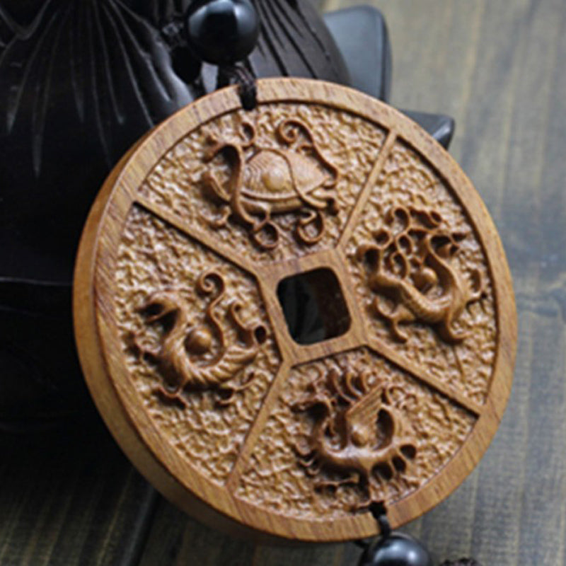 The Chinese dragon carved ancient COINS wood carved animals guarded Peace hanged adorn wood carved figurines for cars AHJ011