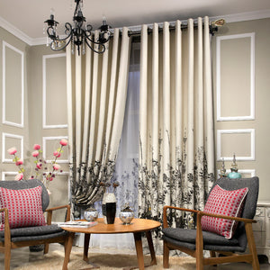 Thick Chenille Jacquard Half Blackout Curtains Living Room Bamboo Window Curtains Bedroom Luxury Kitchen Curtains,1 Panel