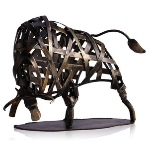 Tooarts Metal Figurine Braided Cattle Figurine Vintage Iron Modern Home Decor Handmade Animal Crafts Accessories Gift For Office