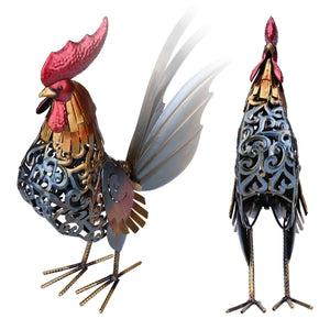 Tooarts Metal Statuettes Iron Rooster Home Decor Modern Articles Figurine Colorful Craft Gift For Home Decoration Accessories