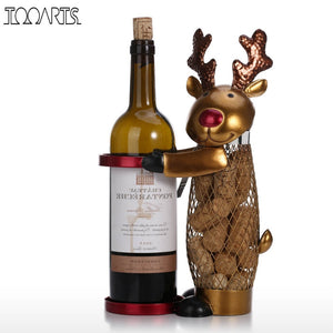 Tooarts Netted Christmas Elk Wine Rack Animal Wine Holder Cork Container Metal Practical Craft Christmas Gift Xmas Decorations