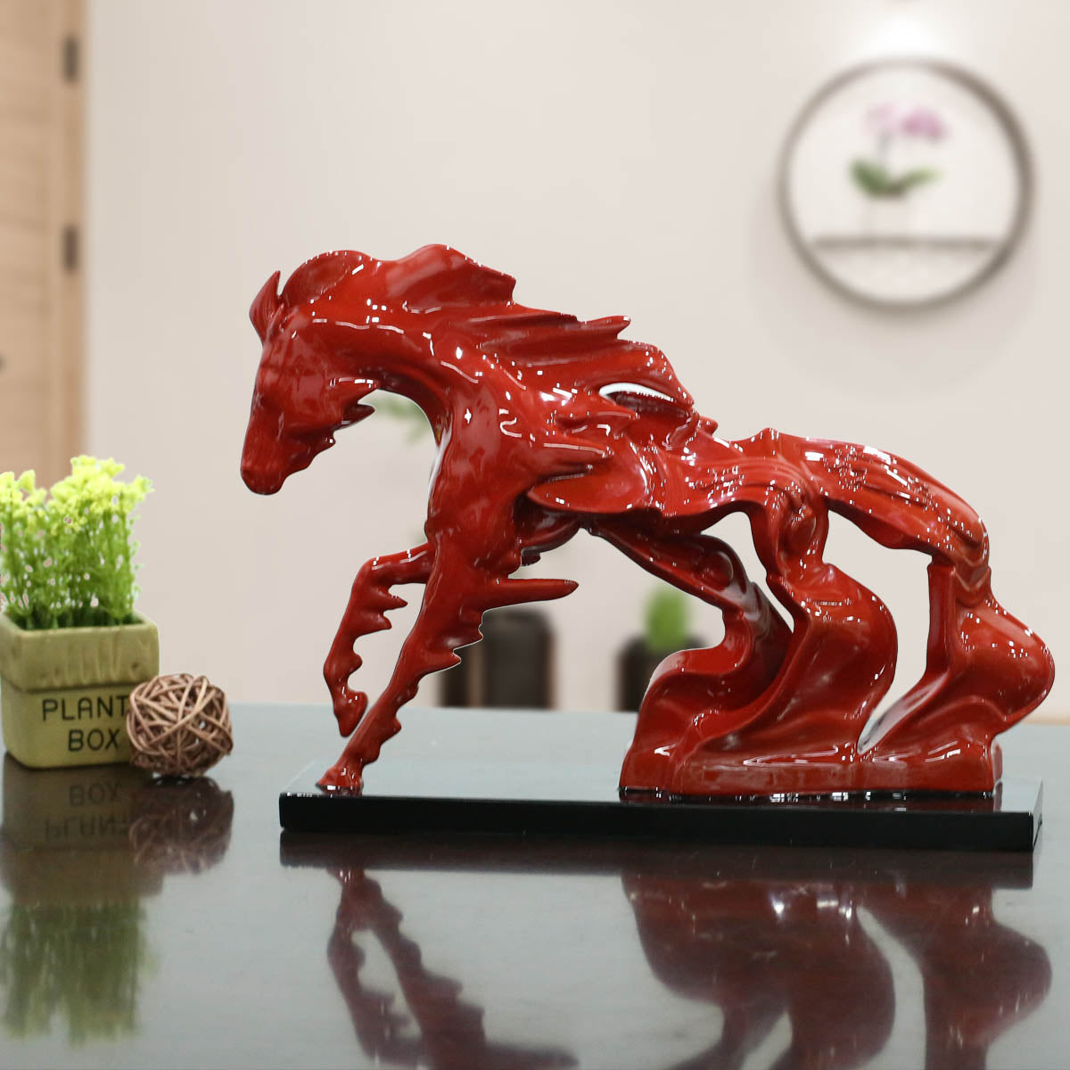 Tooarts Tomfeel Running Horse Small Size Modern Sculpture Resin Sculpture Abstract Surrealism Horse Shape Statues for Decoration