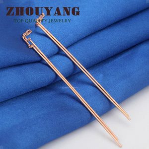 Top Quality Simple Ear Line Rose Gold Color Stud Earrings Jewelry Made with Genuine Austrian Crystal Wholesale ZYE789 ZYE790