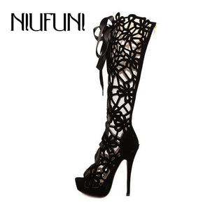 Top Selling Women's Shoes 2016 New Fashion Women High Heels Tall Tube Women's Pumps Sexy Summer Lace Up Women Single Boots