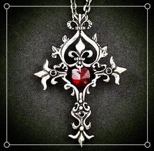 Trendy Movie Vampire Diaries Gothic Fantasy Red Cross Necklace Punk Style Men Jewelry P791